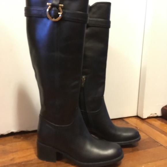 Salvatore Ferragamo Shoes - Ferragamo Black Robespierre Knee-High Boot